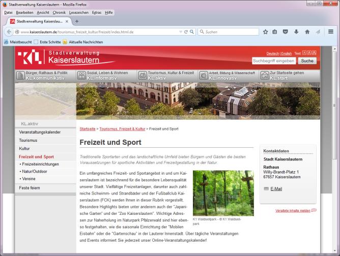 Webseite der Stadt Kaiserslautern