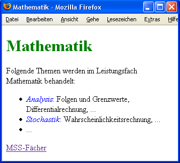 Webseite zum Fach Mathematik