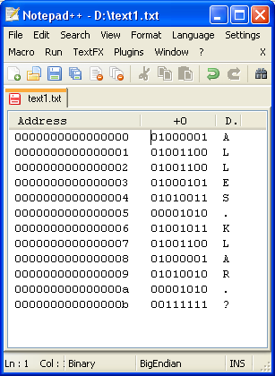 Binärdarstellung zum Text im Unix-Format