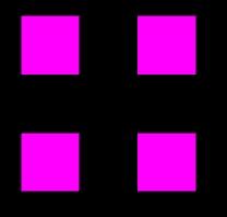 Vier violette Quader