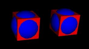 Zwei Figuren aus einer blauen Kugel und einem roten Quader