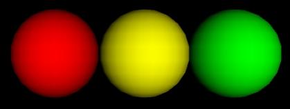 Eine rote, gelbe und grüne Kugel