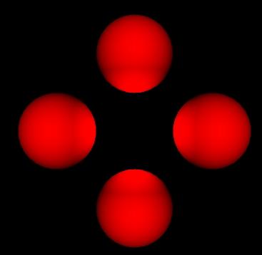 Vier Kugeln um einen Punkt, der sie beleuchtet