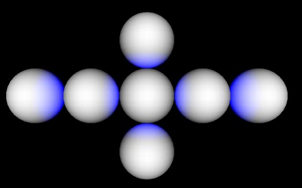 Sechs Kugeln welche blaues Licht ohne Schatten demonstrieren