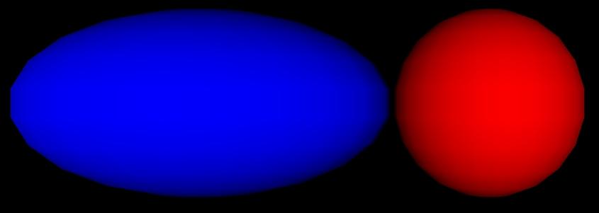 Blaue und rote Kugel, die Blaue verzerrt