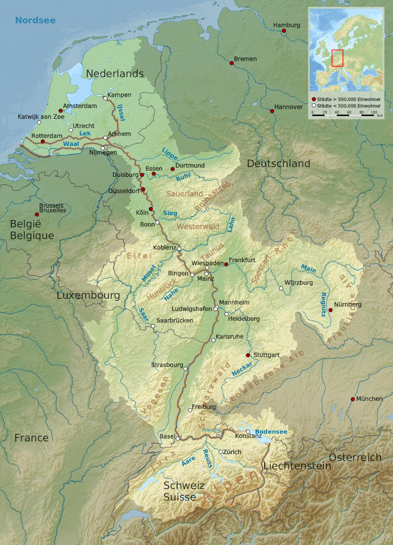 Verlauf des Rheines durch mehrere Länder und entlang vieler Orte