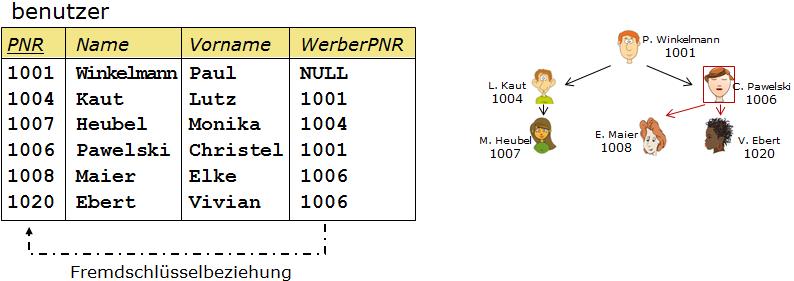 Benutzer-Tabelle mit Selbstreferenz in Form eines Attributs WerberPNR