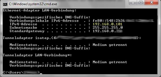 Screenshot des Windows-Tools ipconfig, aufgerufen von der Kommandozeile cmd