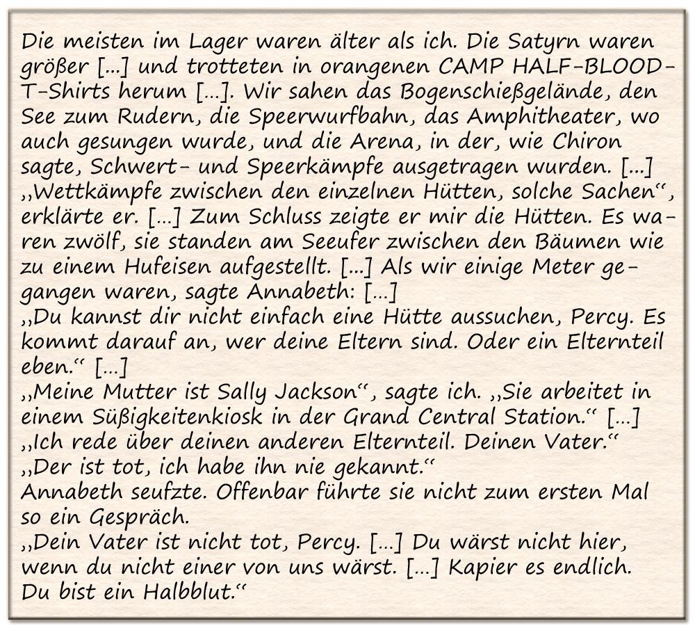 Ausschnitt aus dem Jugendroman Percy Jackson