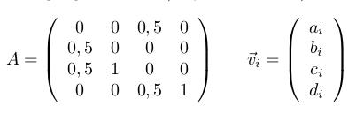 Definition der Übergangsmatrix A und des Vektros v