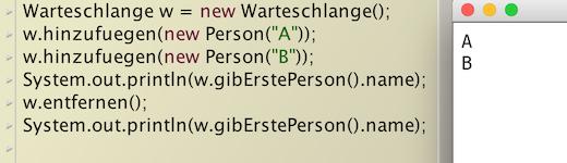 Testen der Warteschlange im Codepad