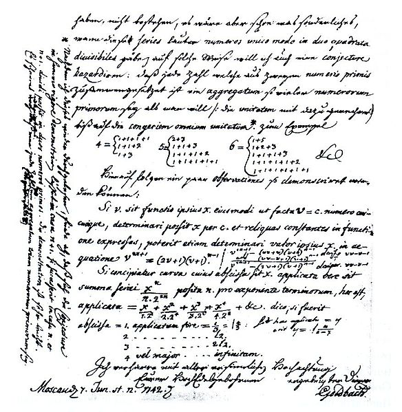 Brief von Goldbach an Euler