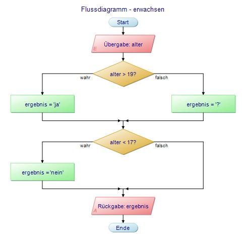 Flussdiagramm - erwachsen: Übergabe: alter; Rückgabe: ja/nein/?
