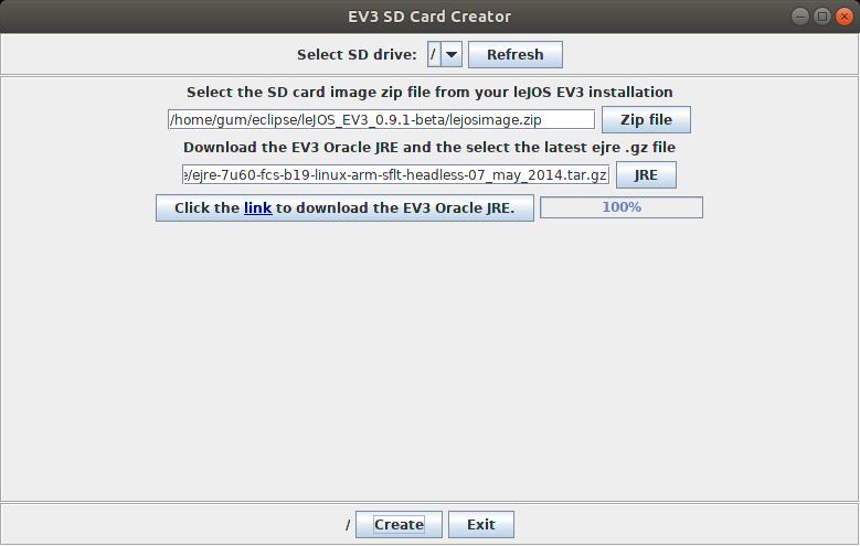 EV3 SD Card Creator Dialog