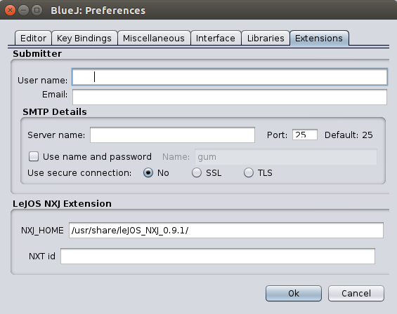 Screenshot: BlueJ leJOS-NXT-Plugin: Extensions-Tab