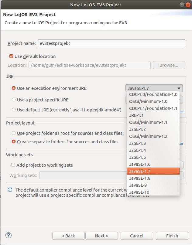 Javaversion im EV3-Projekt festlegen