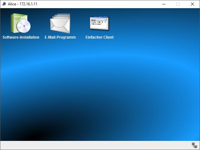 Desktopansicht des PCs von Alice