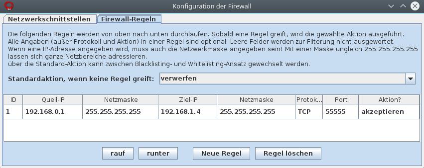 Konfiguration einer Firewall-Regel auf dem Router