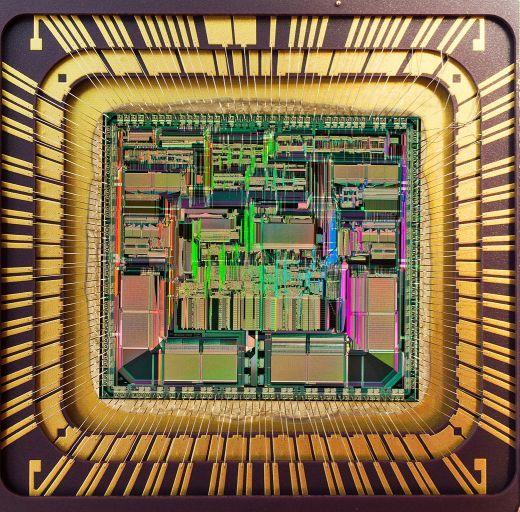 Sicht in einen Motorola 68040-Die-Prozessor
