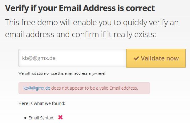 Validierung einer E-Mail