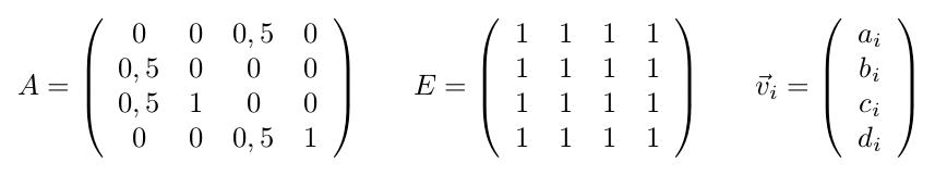 Definition der Matrizen A und E