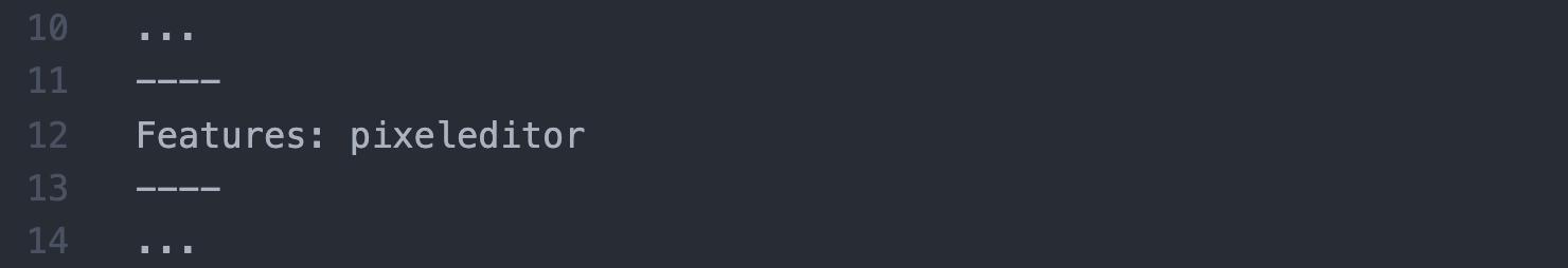 Beispielquelltext für die Einbindung des Pixeleditors über das Meta-Tag features