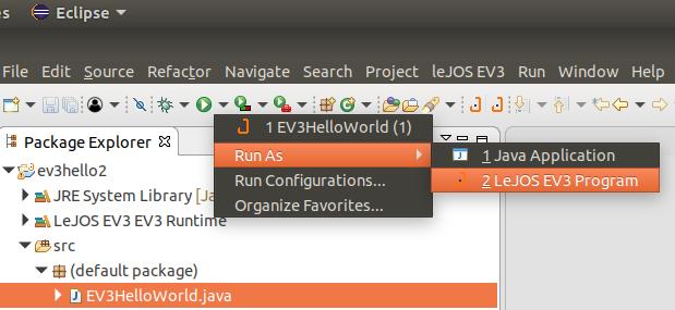 Kommunikation mit dem EV3 via EV3-Plugin in Eclipse