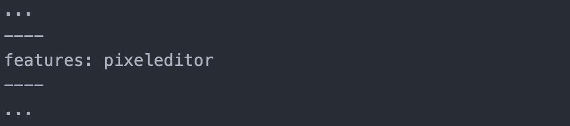 Darstellung des Attributs features im Quelltext