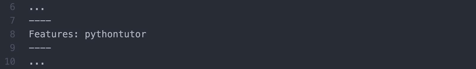 Beispielquelltext für die Einbindung des Python Tutors über das Meta-Tag features